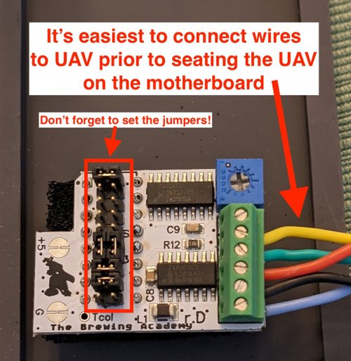 Wires are connected and jumpers are set